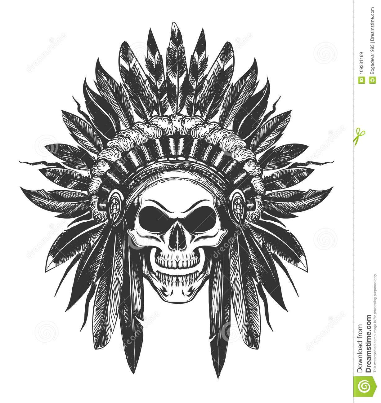 cabfcd58d Human Skull in Native American indian War Bonnet drawn in tattoo style.  Vector illustration.