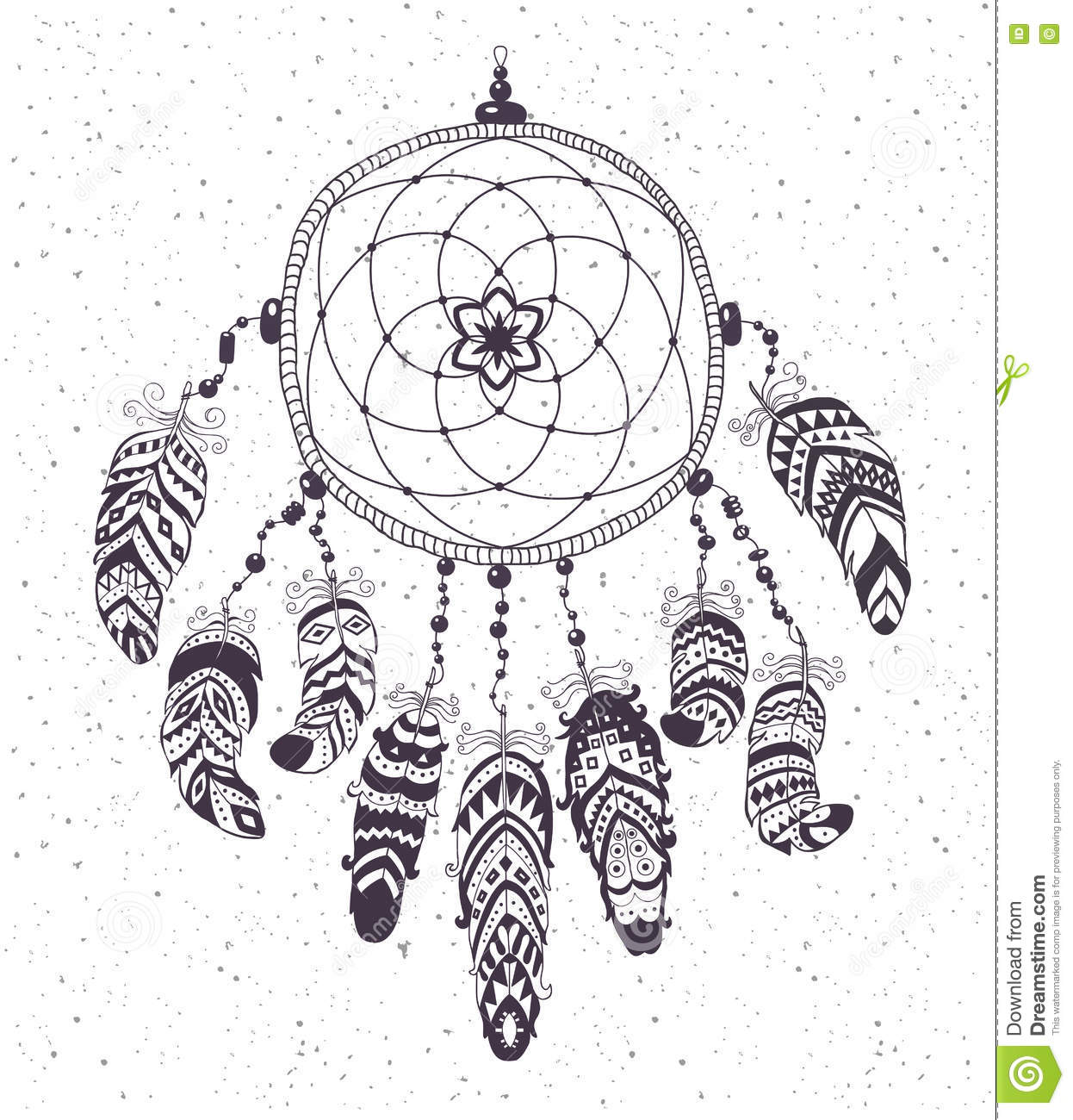 native american indian talisman dreamcatcher with feathers stock