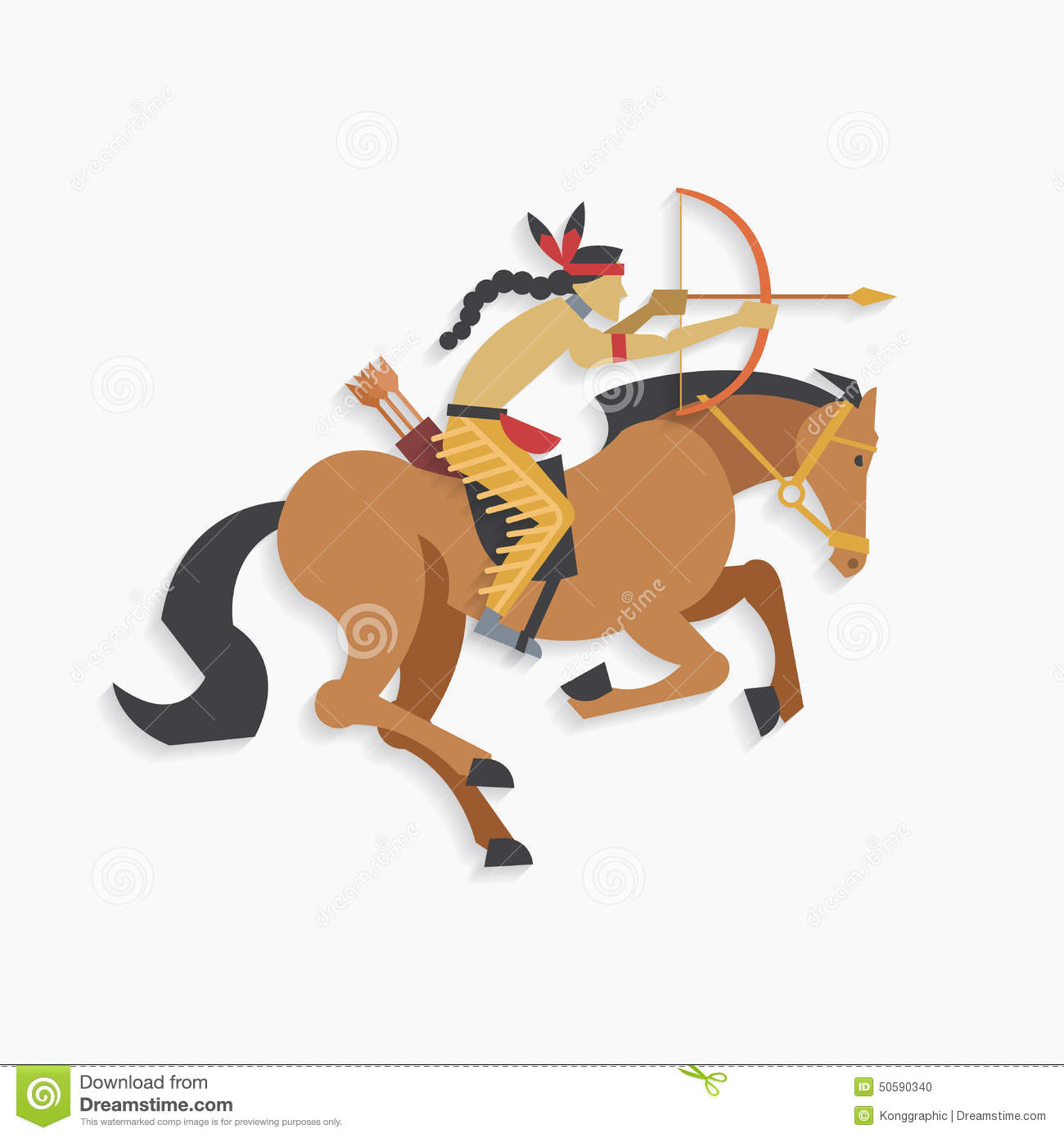 Native American Indian Warrior With Bow And Arrow Riding Horse Stock Vector Illustration Of Indian Concept 50590340