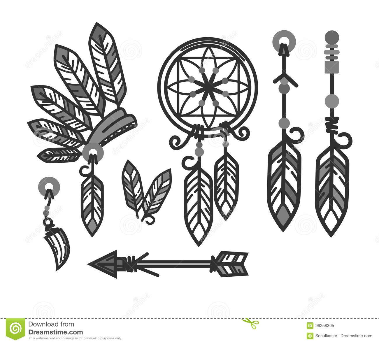 Native American Indians Traditional Culture Tools Symbols Vector