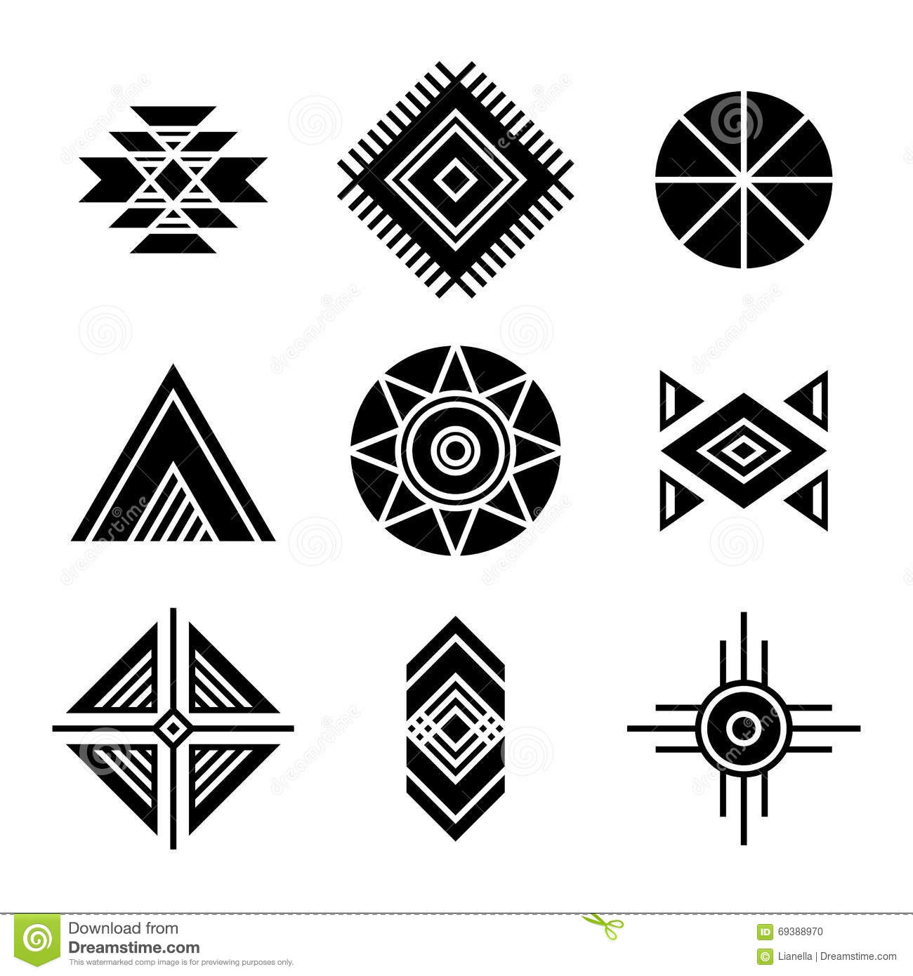 native american indians tribal symbols stock vector illustration
