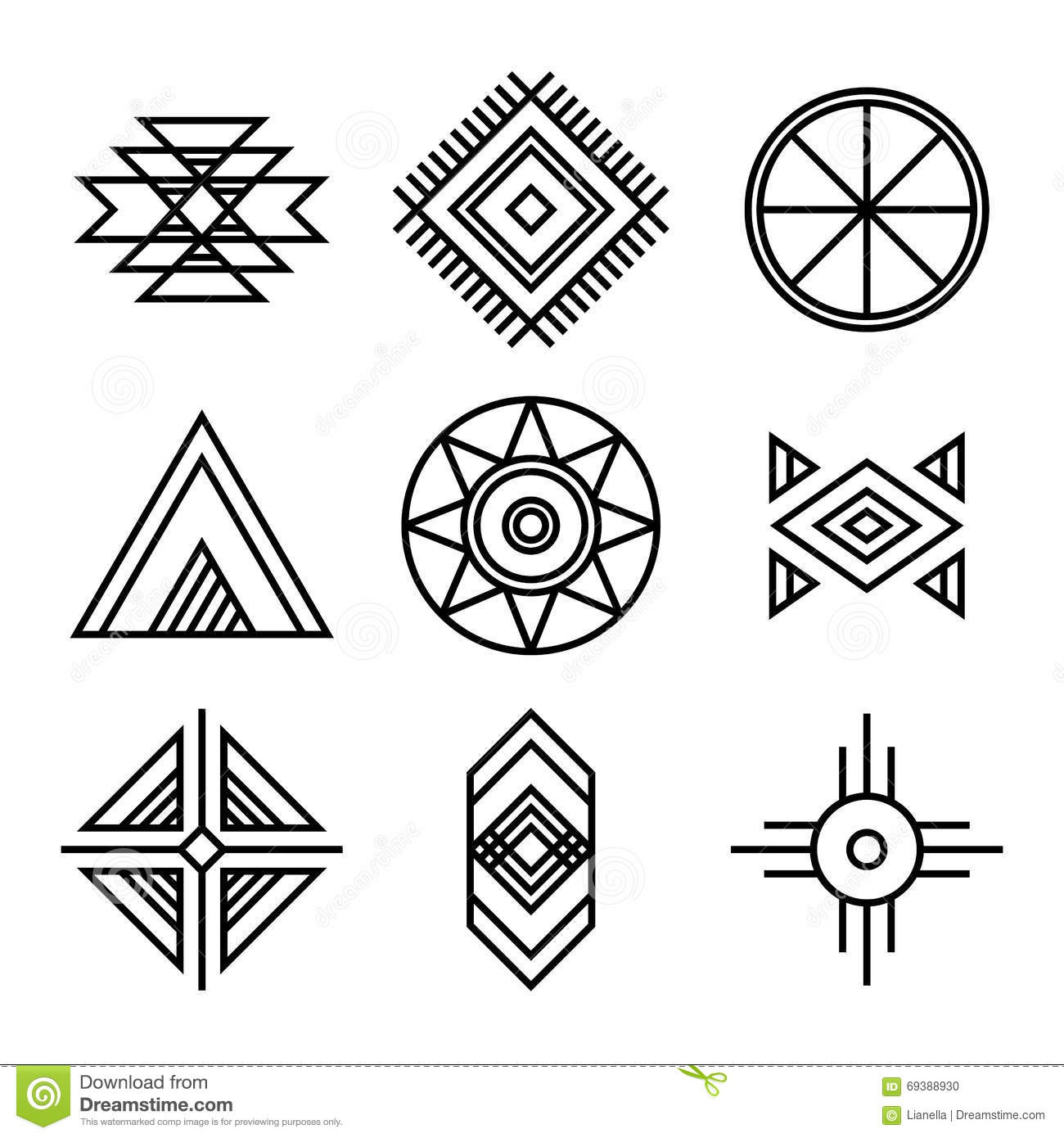 native american indians tribal symbols stock vector. Black Bedroom Furniture Sets. Home Design Ideas