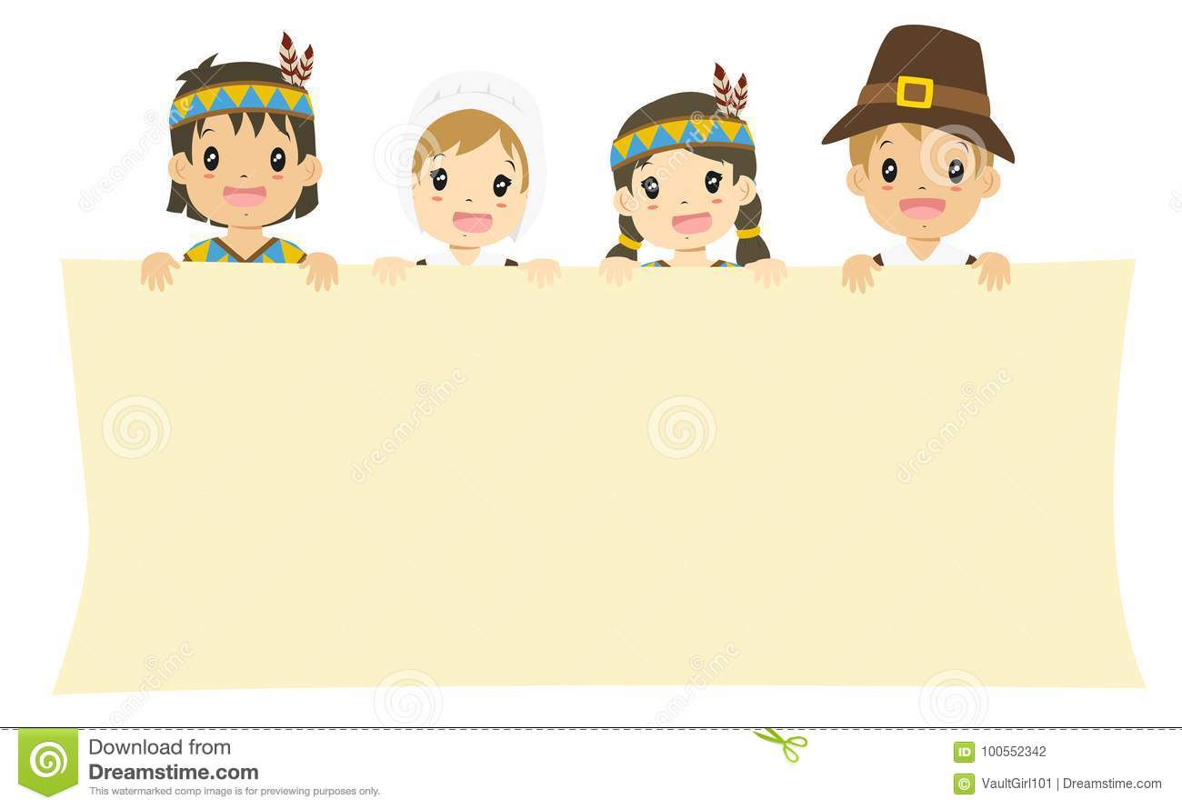Native American And Pilgrim Boys And Girls Holding An ...