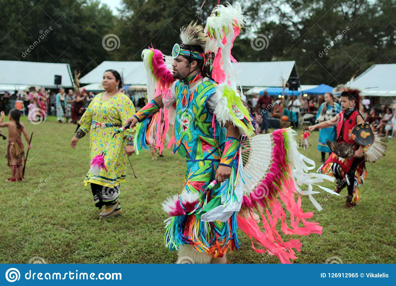 Native American pow wow dancers