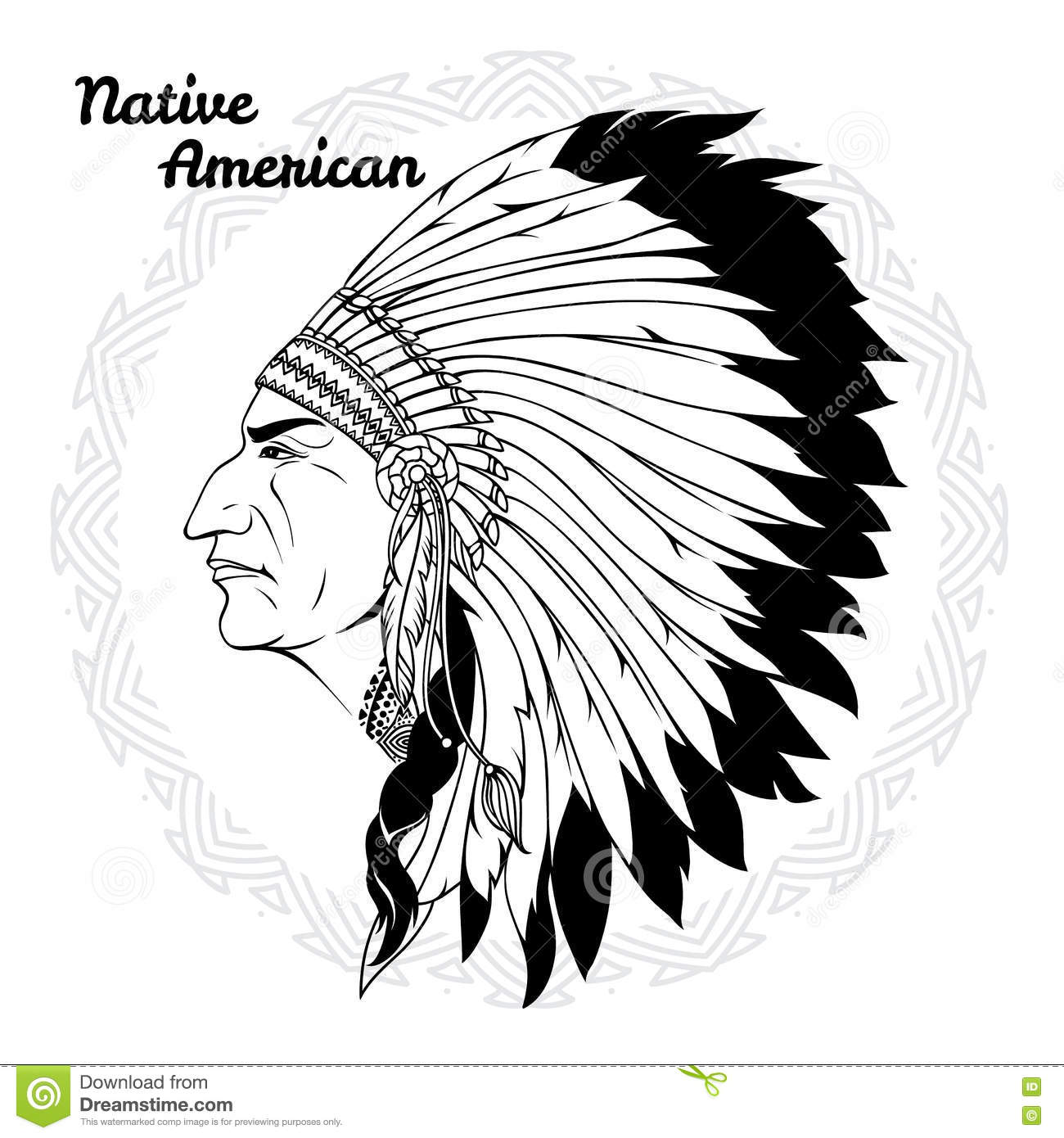 indian hat template - native american in profile monochrome stock vector image