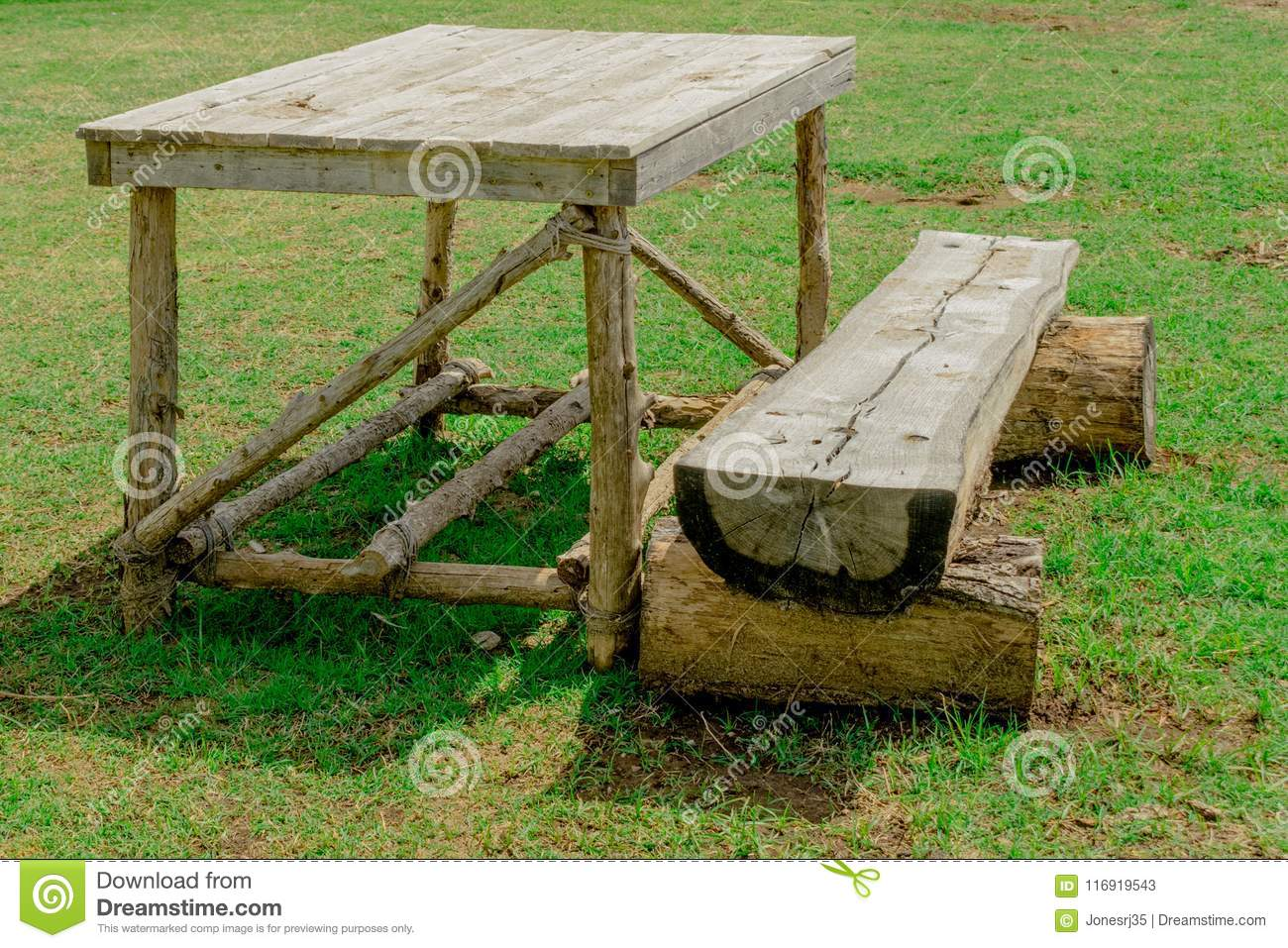 Native American Table With Bench Stock Image Image Of Branches Round 116919543