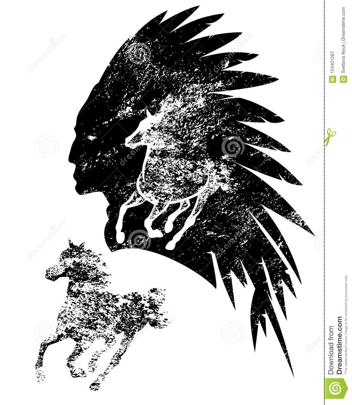 indian chief and mustang horse vector portrait stock vector rh dreamstime com Cherokee Indian Chief Logo Happy Indian Chief Logo