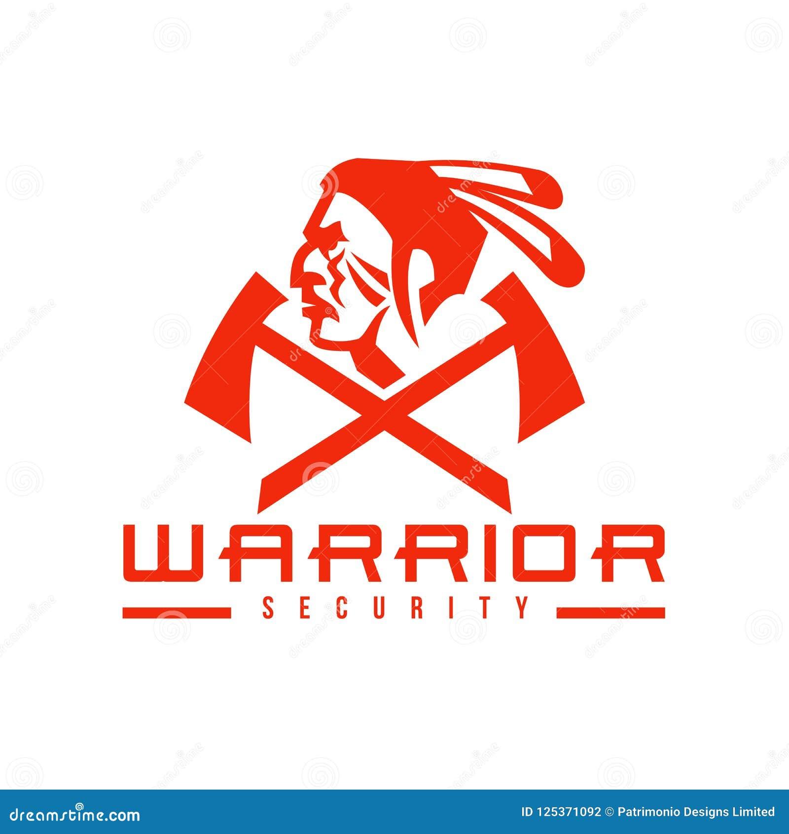 Native American Warrior Security Mascot Stock Illustration