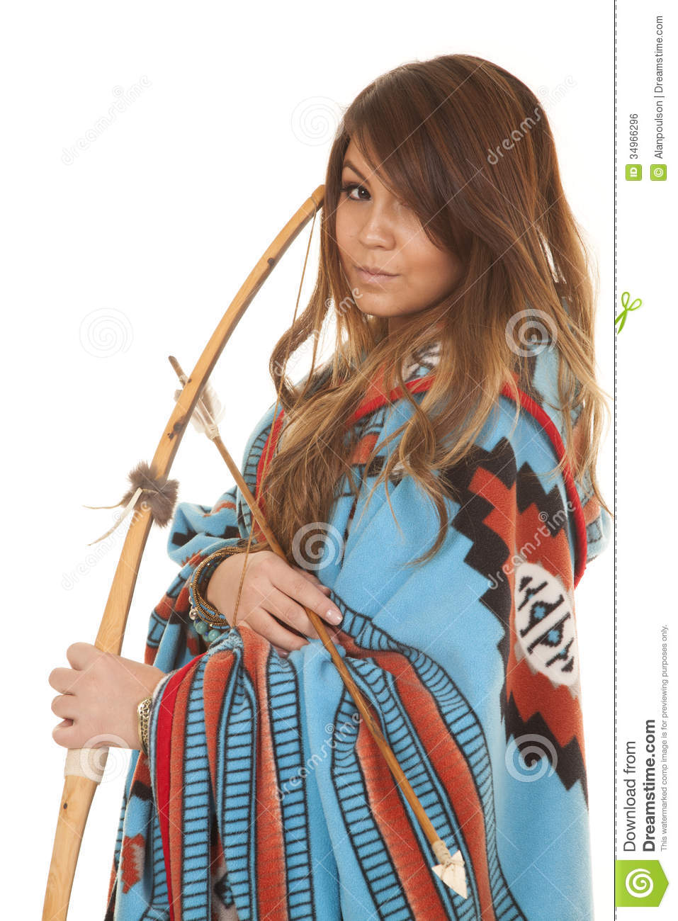 native american woman bow blanket close royalty free stock image