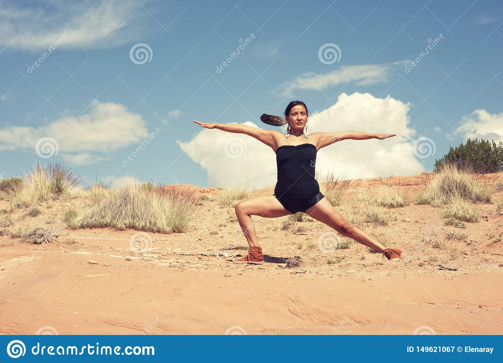Navajo Woman Yoga Warrior