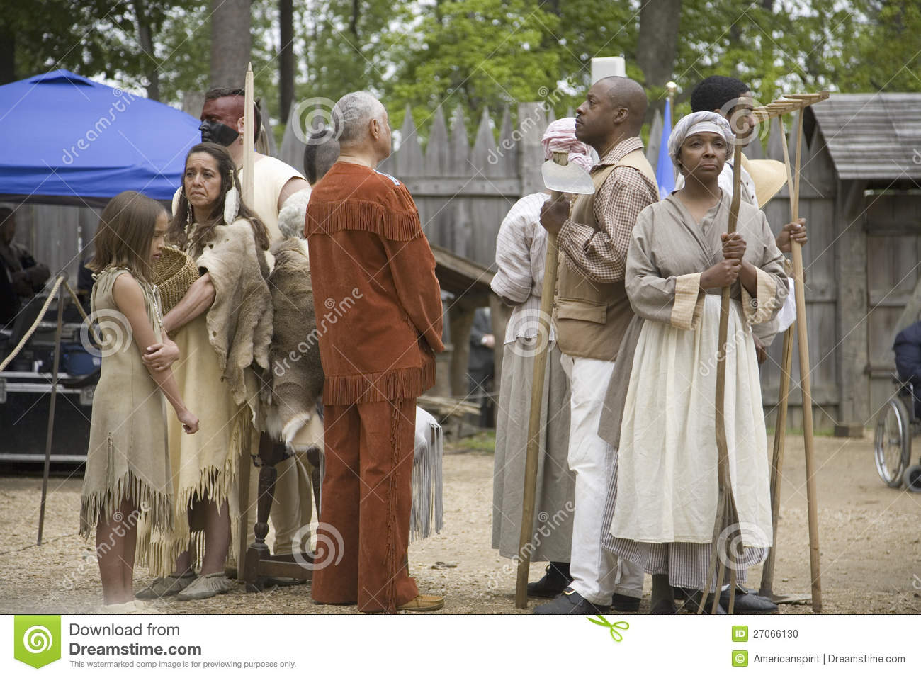 Native americans and african slave reenactors editorial image image
