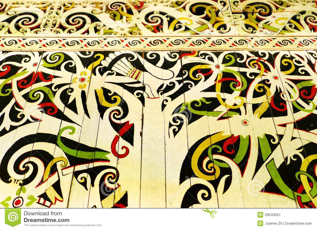 Native Borneo Art, Wall Hornbill Mural Stock Image - Image of ...