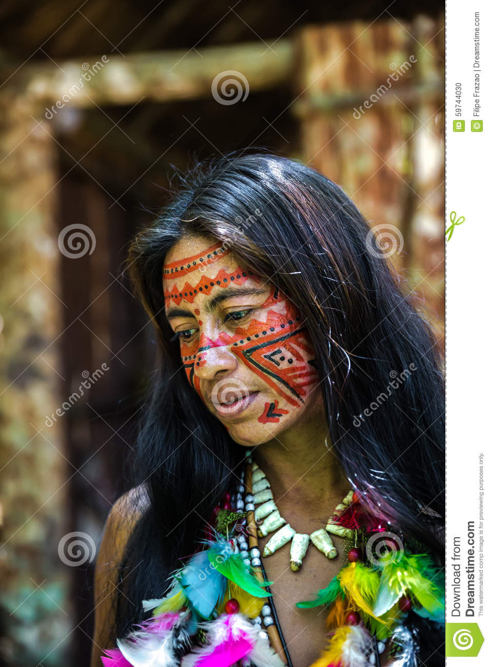 Native Brazilian Woman At An Indigenous Tribe In The ...