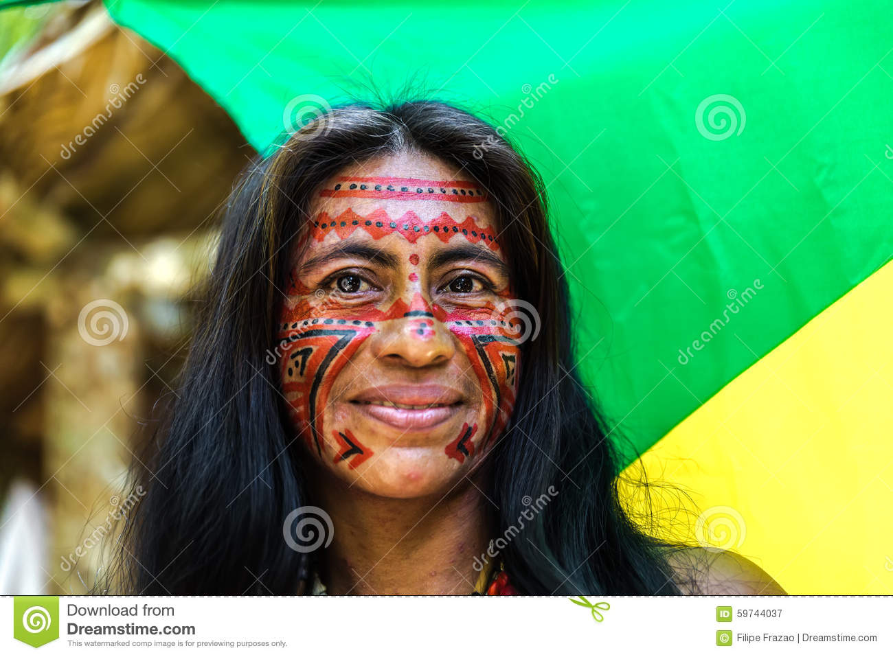 native brazilian woman at an indigenous tribe in the amazon stock