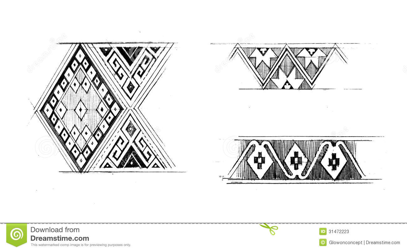 Native Graphic Pattern Hand Draw Illustration Stock
