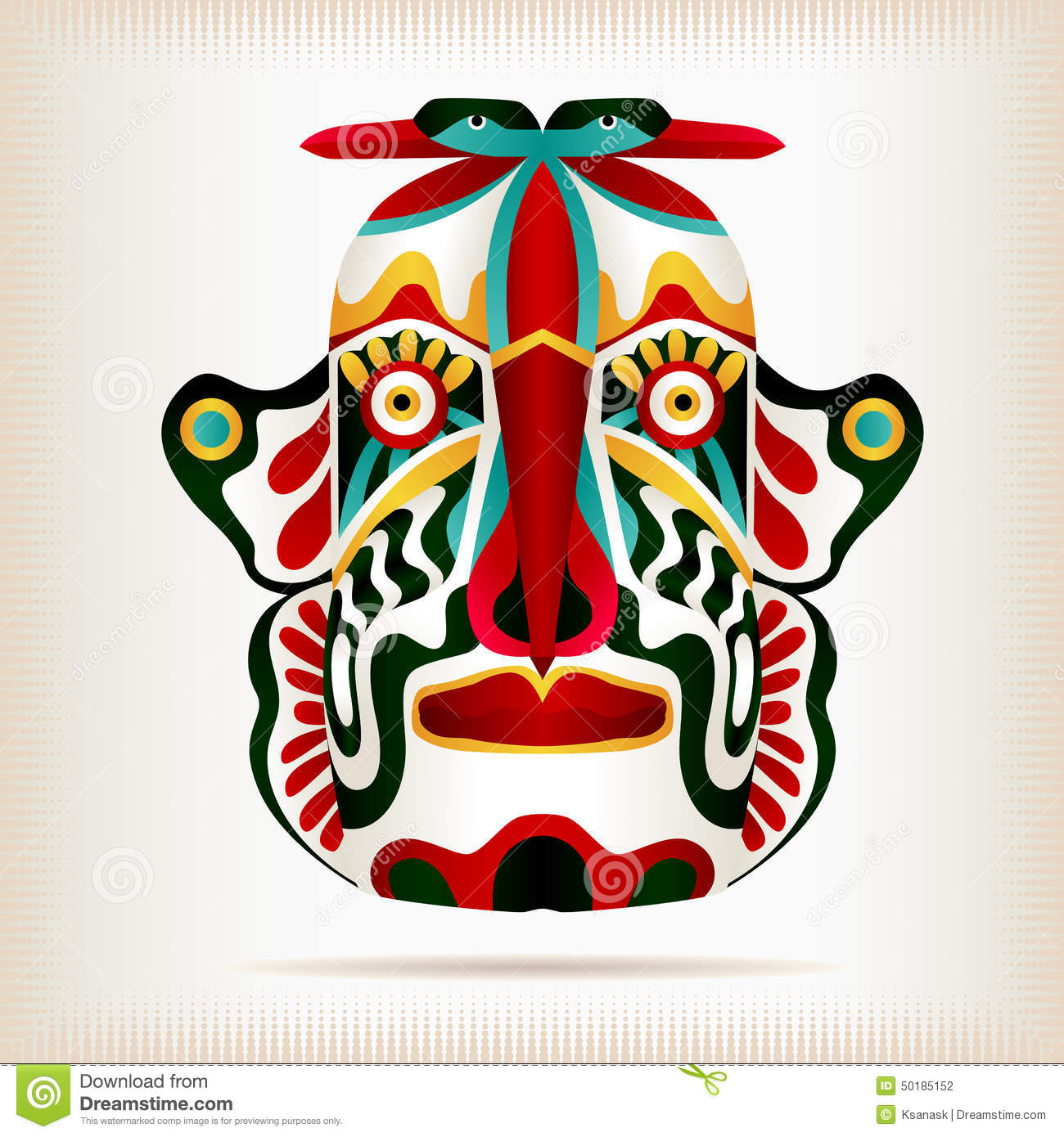 Native american ornaments - Native Indian American Style Mask Stock Vector