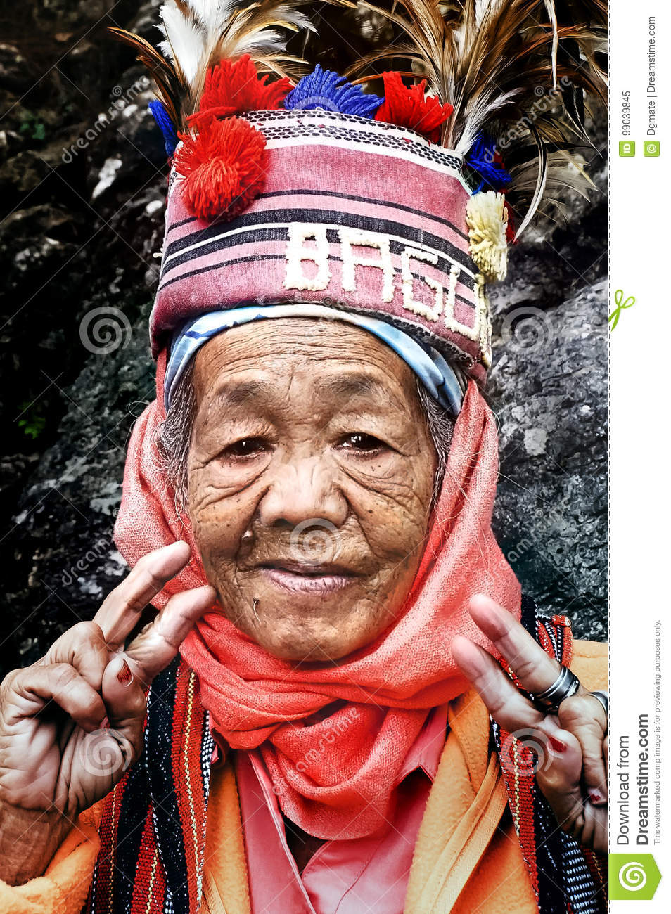 Native Old Woman In Her Colorful Costume Editorial Image