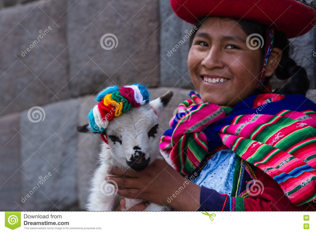 Native Peruvian Holding A Baby Lamb Editorial Image ...