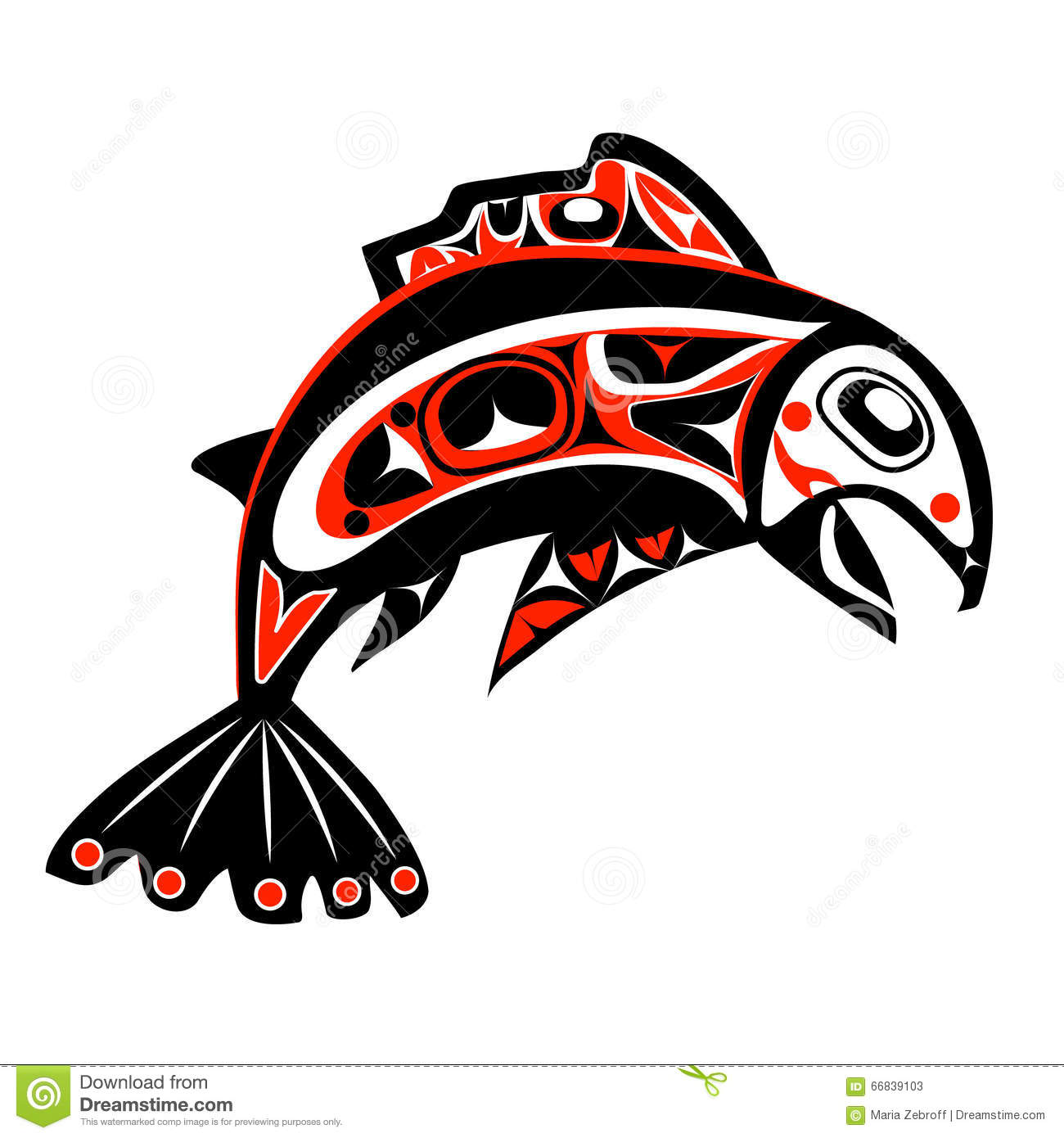 Native salmon Vector stock vector. Illustration of animal - 66839103
