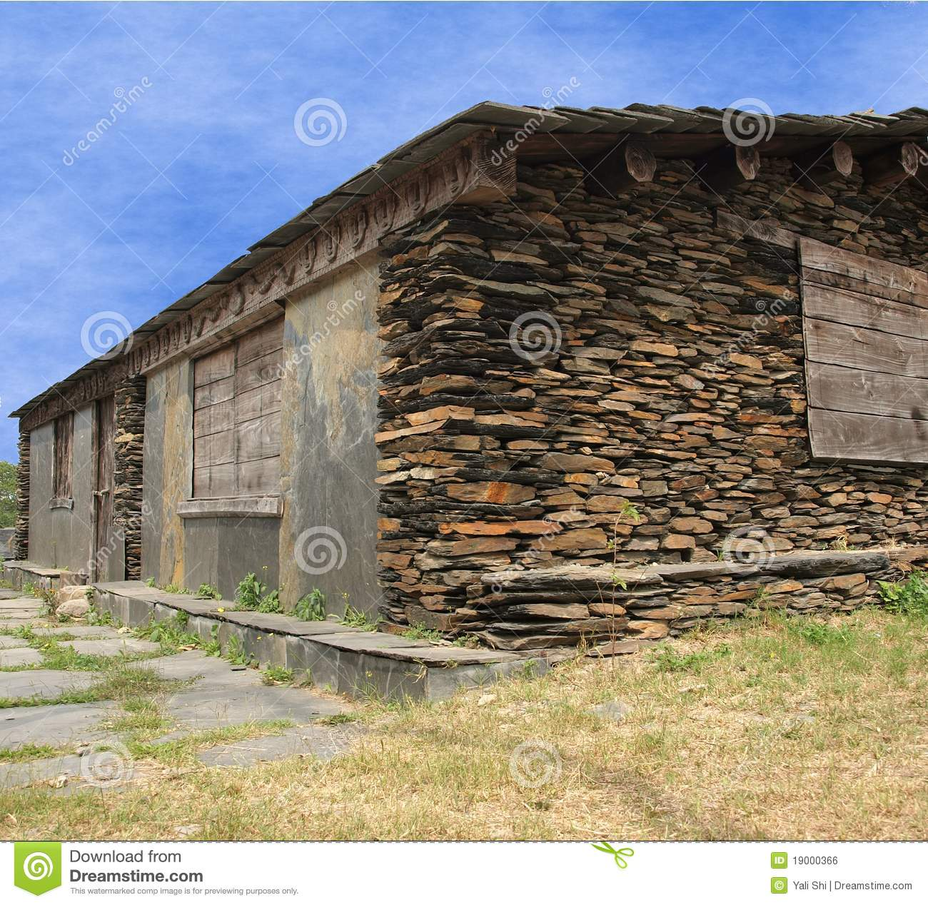 Native Stone House Stock Photo Image Of House Rafters