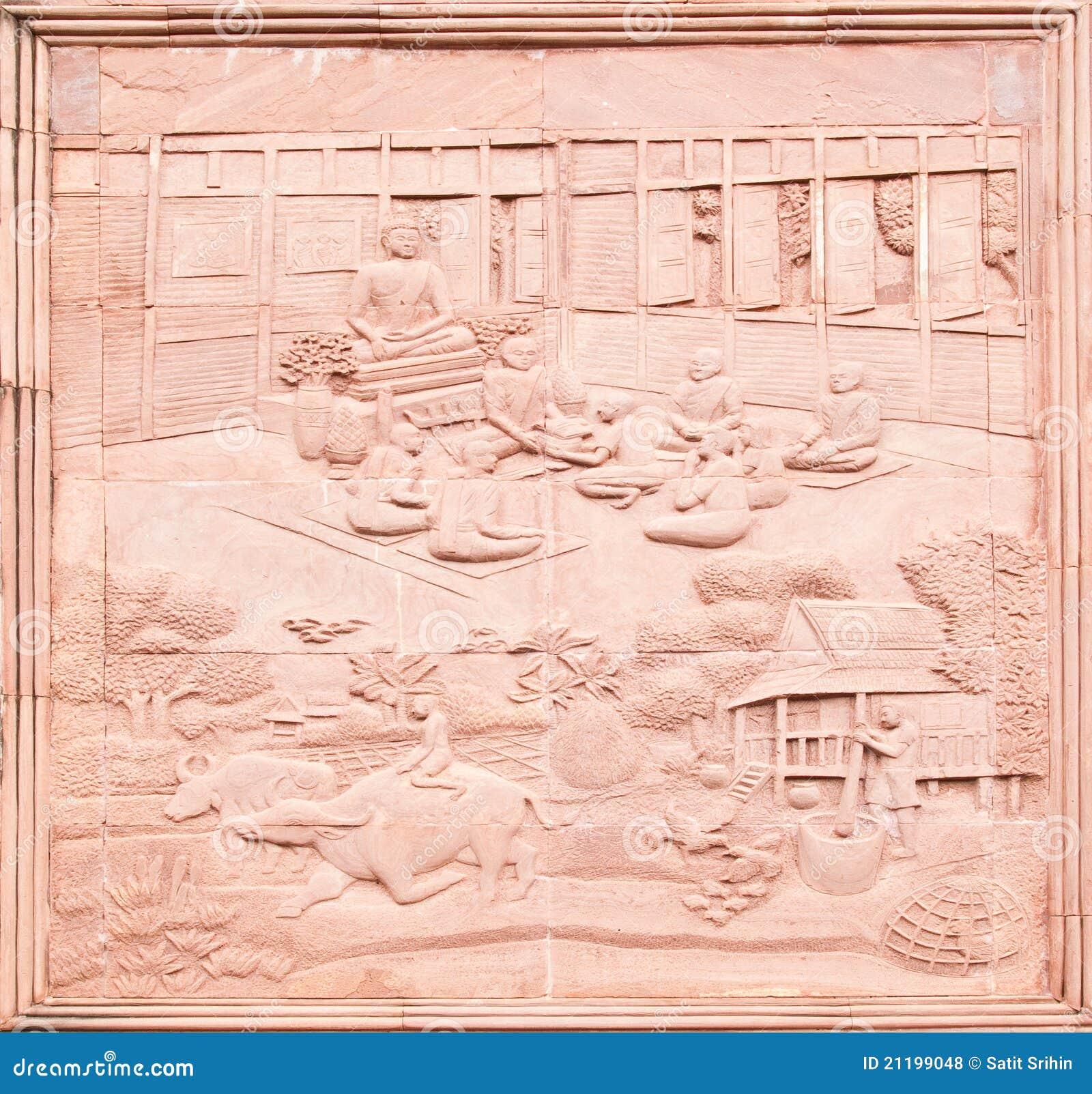 Native Thai art on low relief sculpture