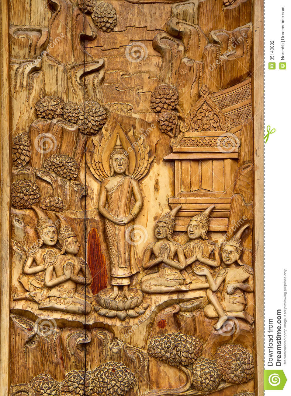 Native thai style carving stock photography image