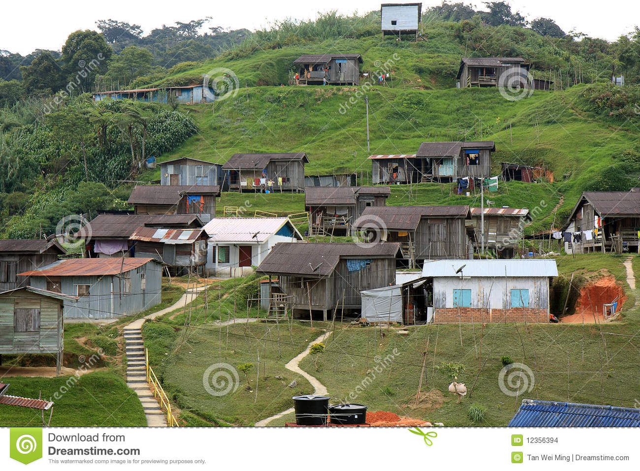 village of one of the native people of Malaysia at Cameron Highlands ...