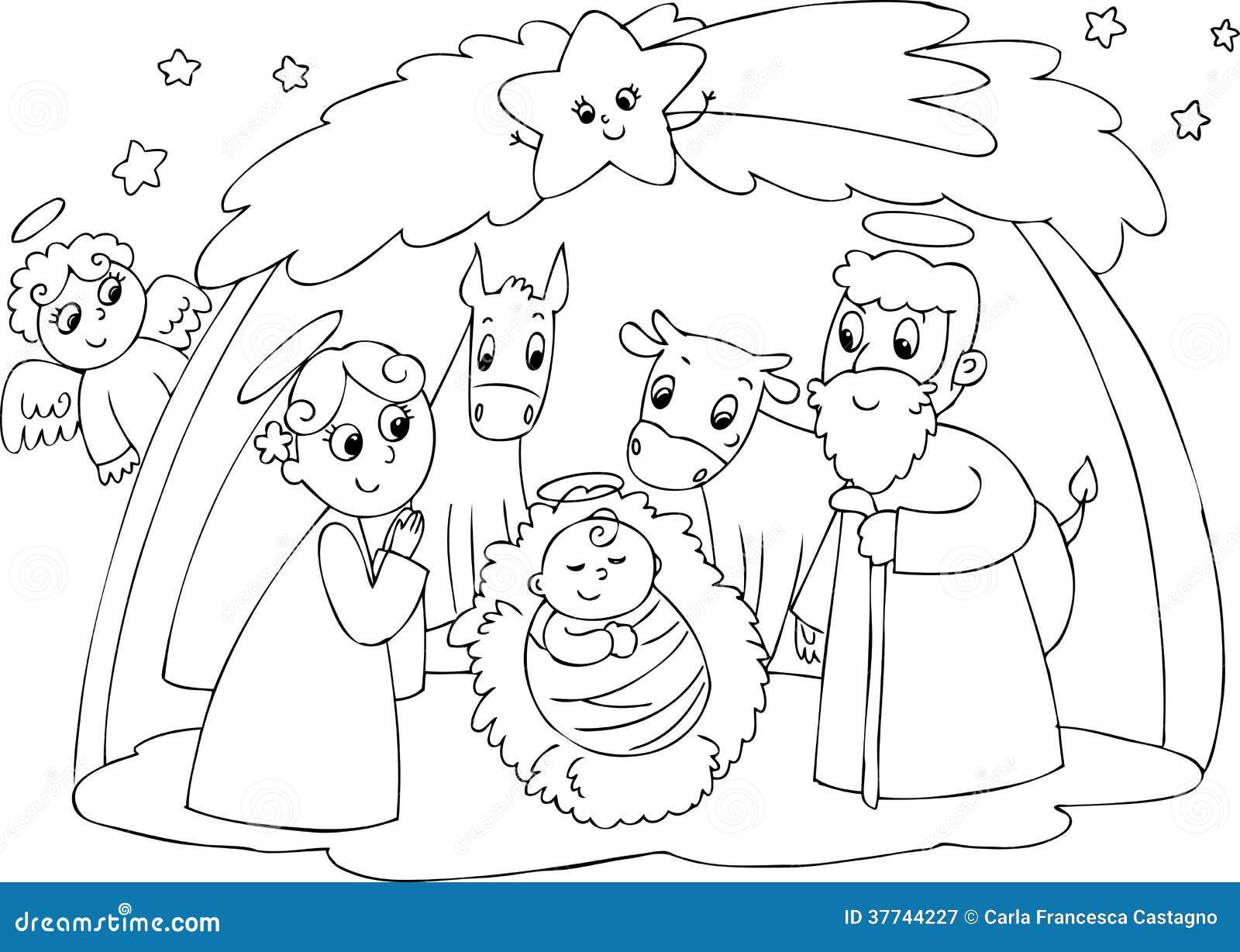 Hermosa Hoja De Colorear De Natividad Inspiración - Enmarcado Para ...