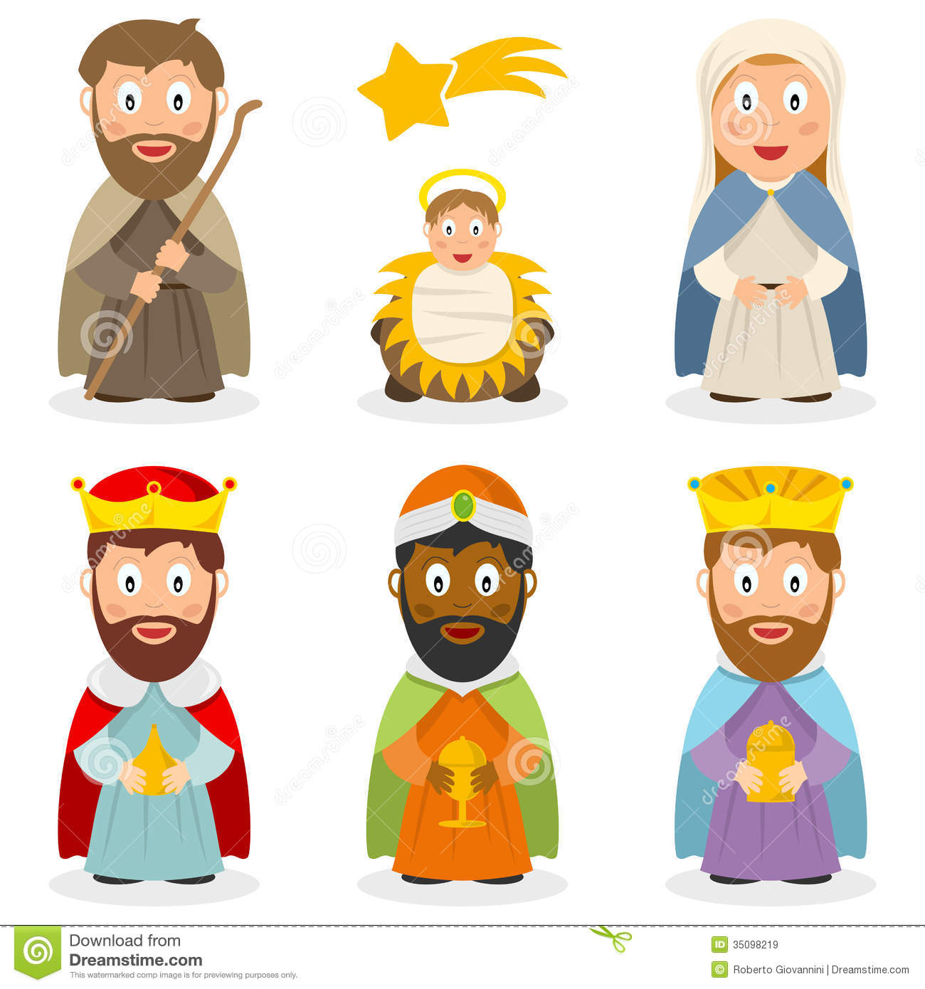 Collection of cartoon characters representing the Holy family (Joseph ...