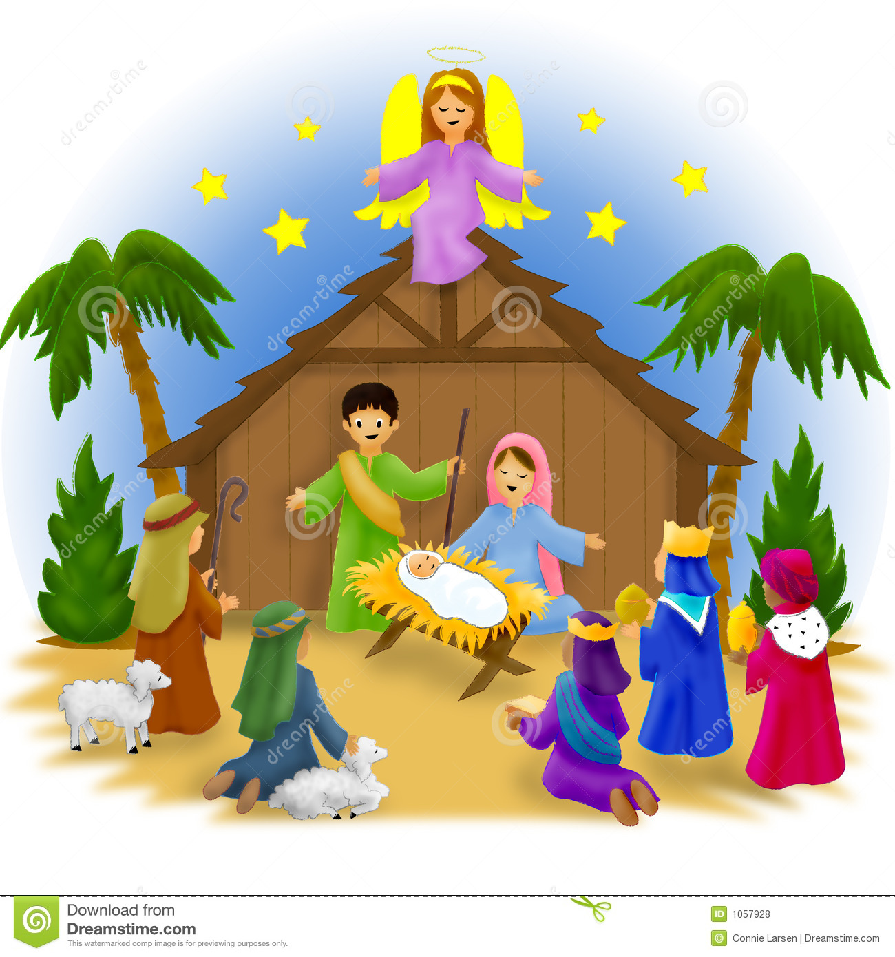 Illustration of children portraying the Nativity in a pageant scene.