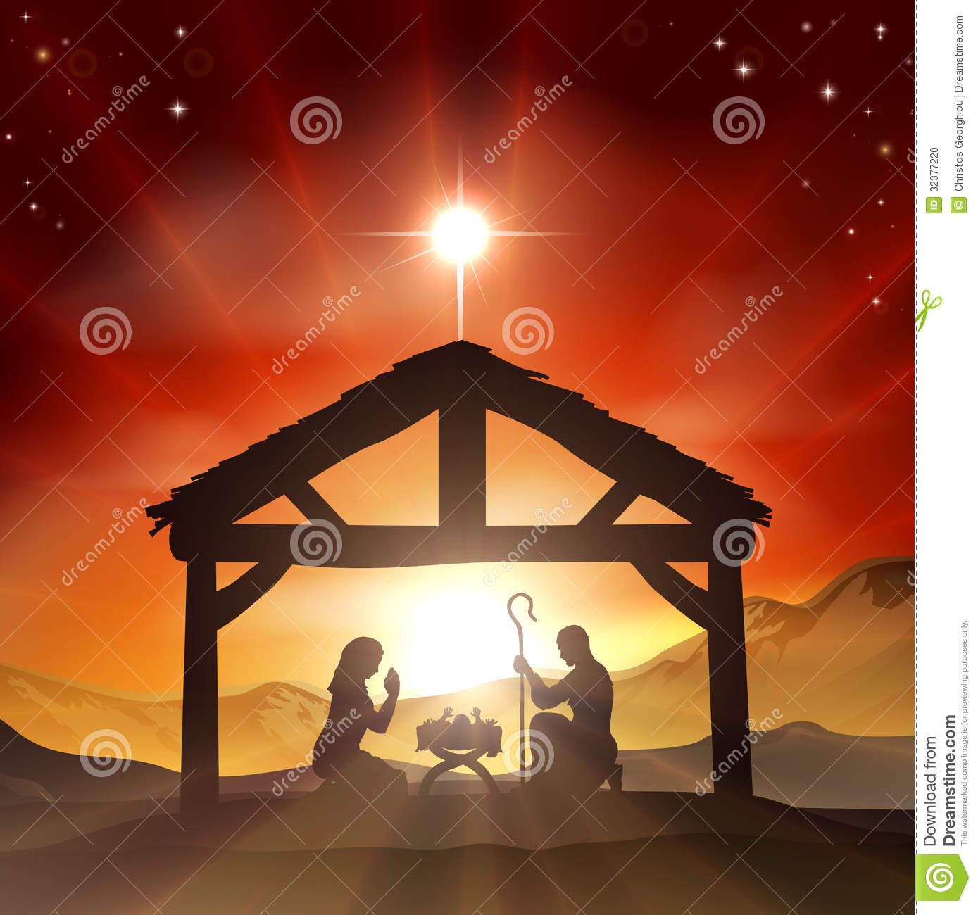 Christmas Christian nativity scene with baby Jesus in the manger in ...