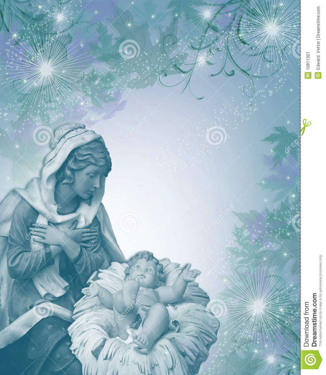 Nativity Christmas Card Religious Blue Stock Illustration ...