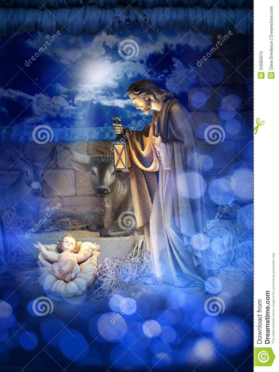 stable with baby Jesus in a manger and Joseph. The star of bethlehem ...