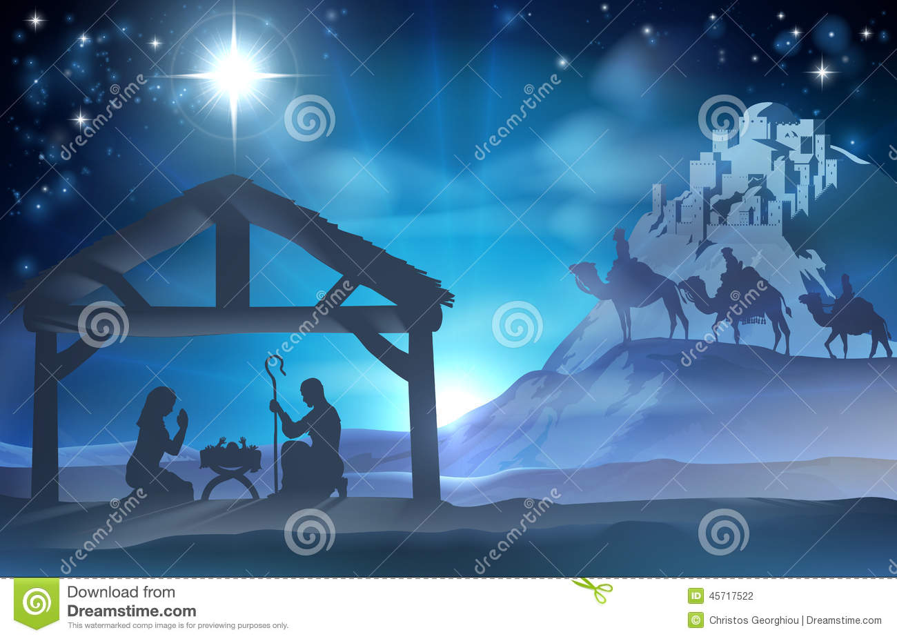 ... baby Jesus in the manger with Mary and Joseph and the three wise men