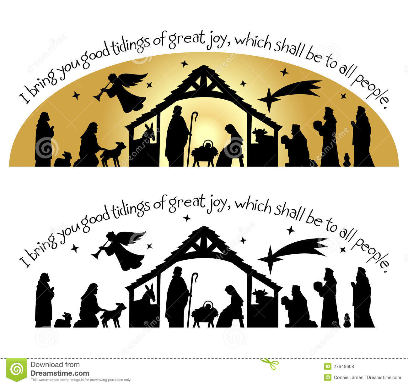 Nativity Christmas Silhouette Eps Stock Vector
