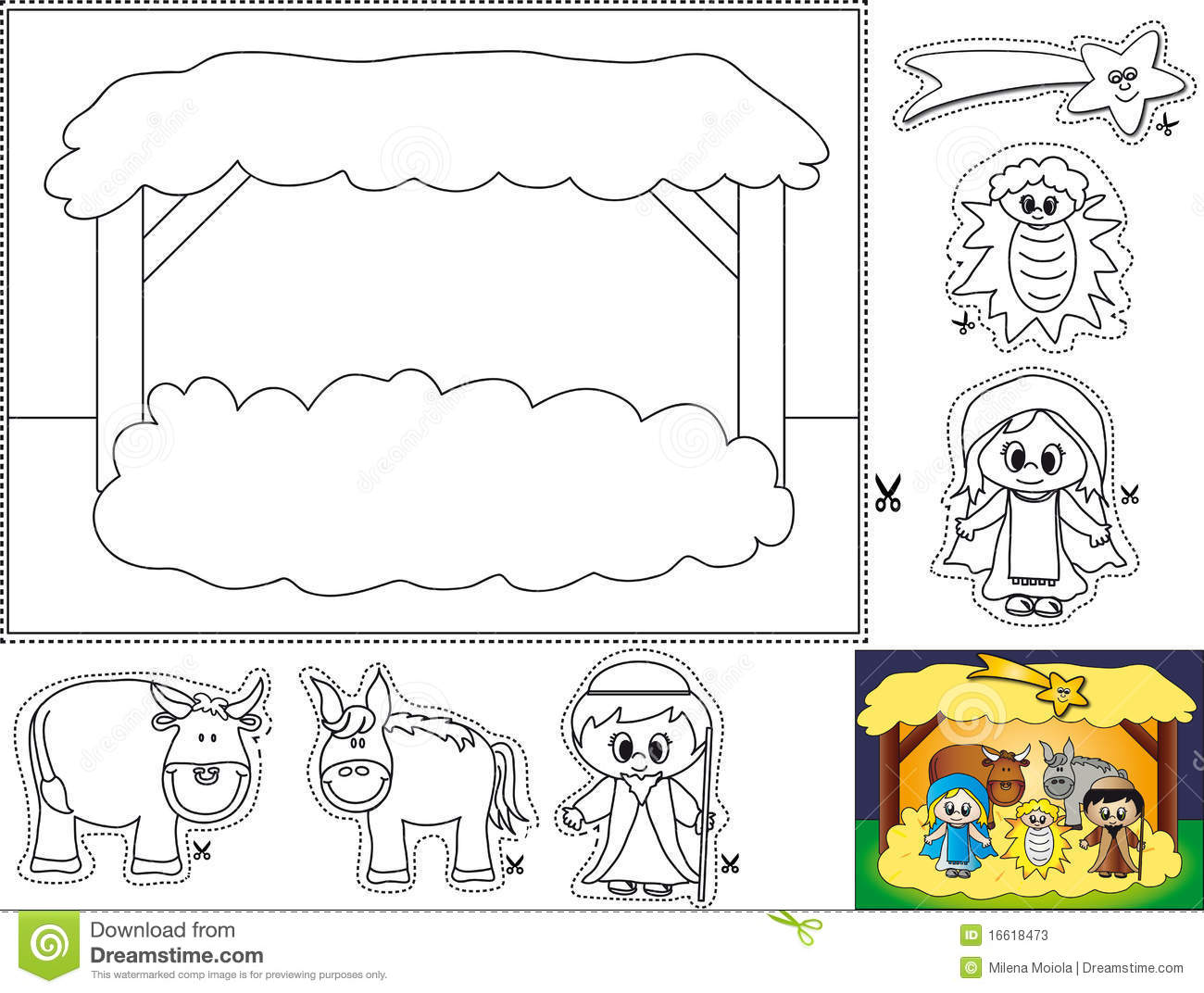 Nativity Color Cut And Paste Stock Illustration