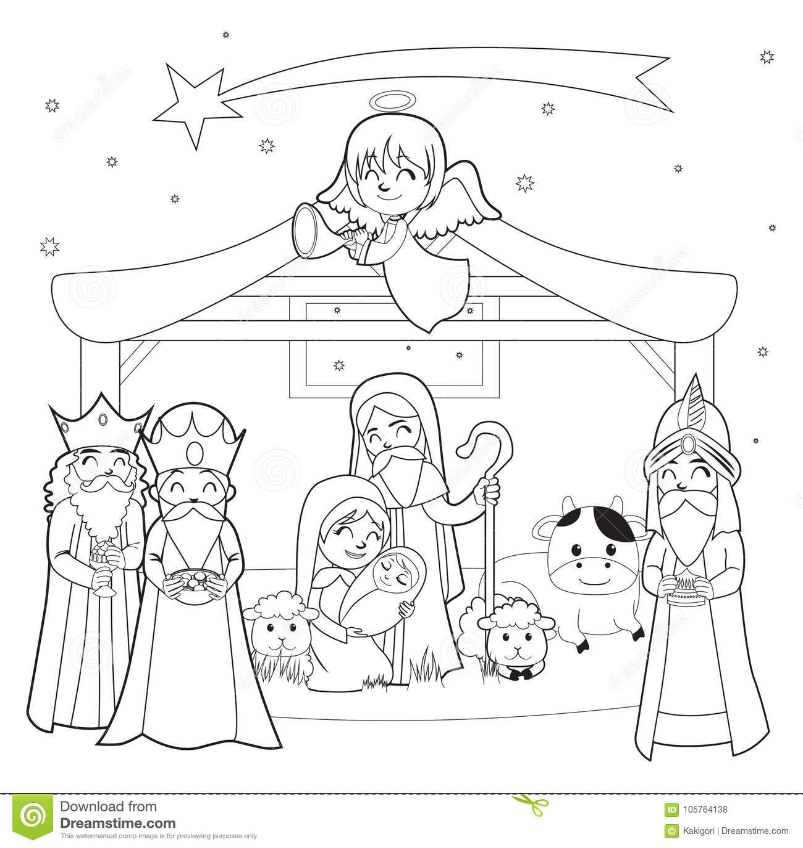 Nativity Coloring Line Art stock vector. Illustration of ...
