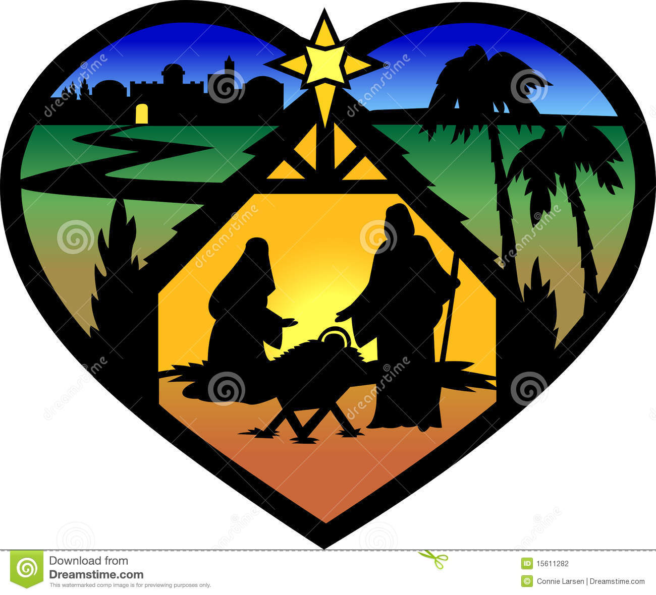 Nativity Heart Silhouette/eps Stock Photography - Image: 15611282