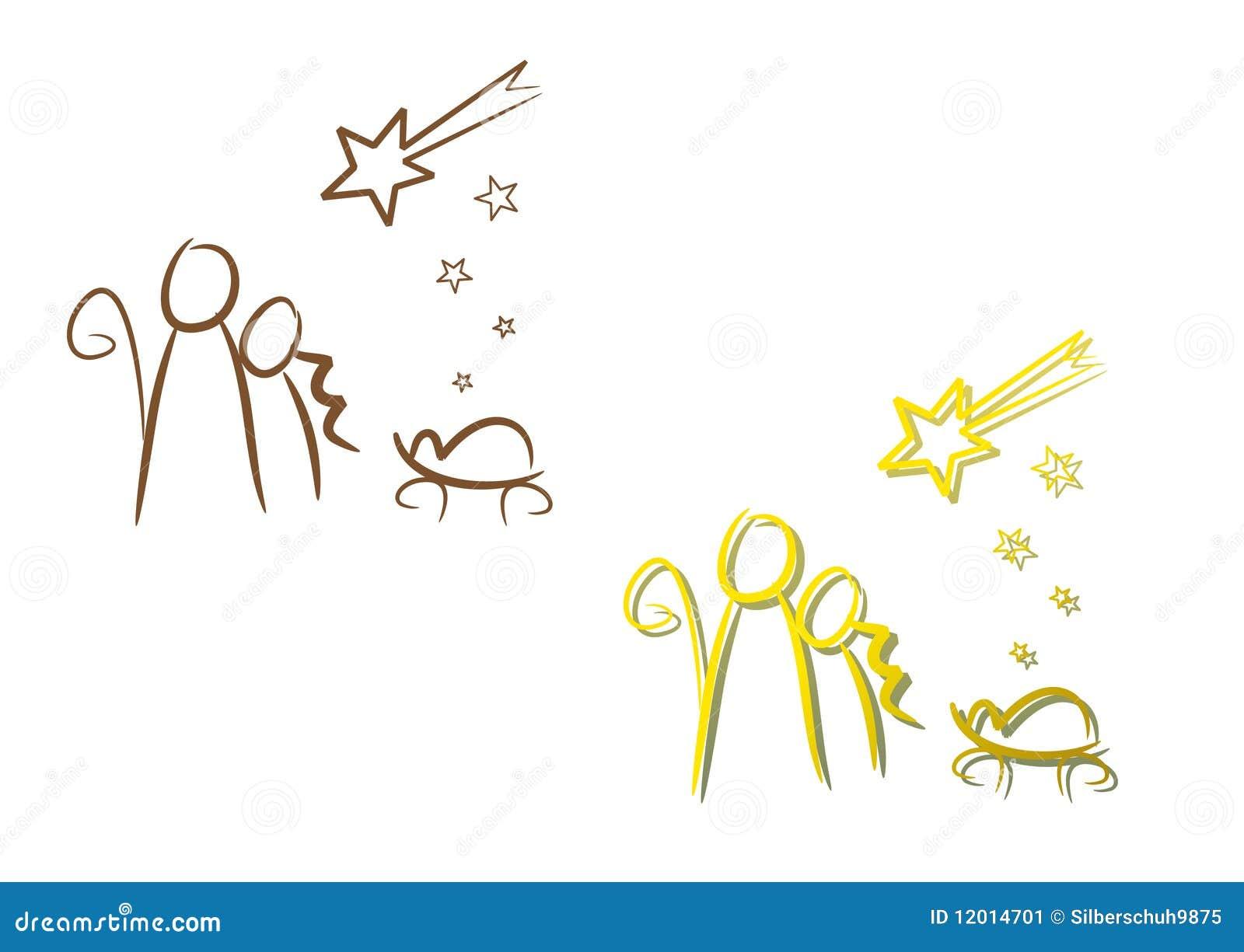 Nativity Illustration Set: Christmas Night Stock Illustration ...