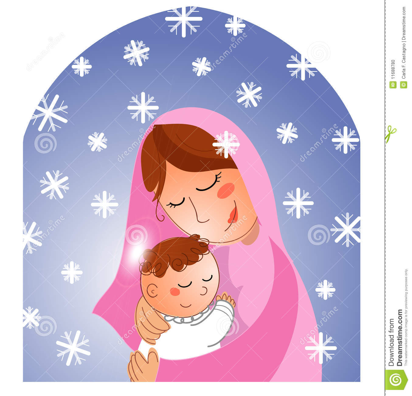 Nativity: Mary And Baby Jesus Bw Stock Vector - Illustration of ...