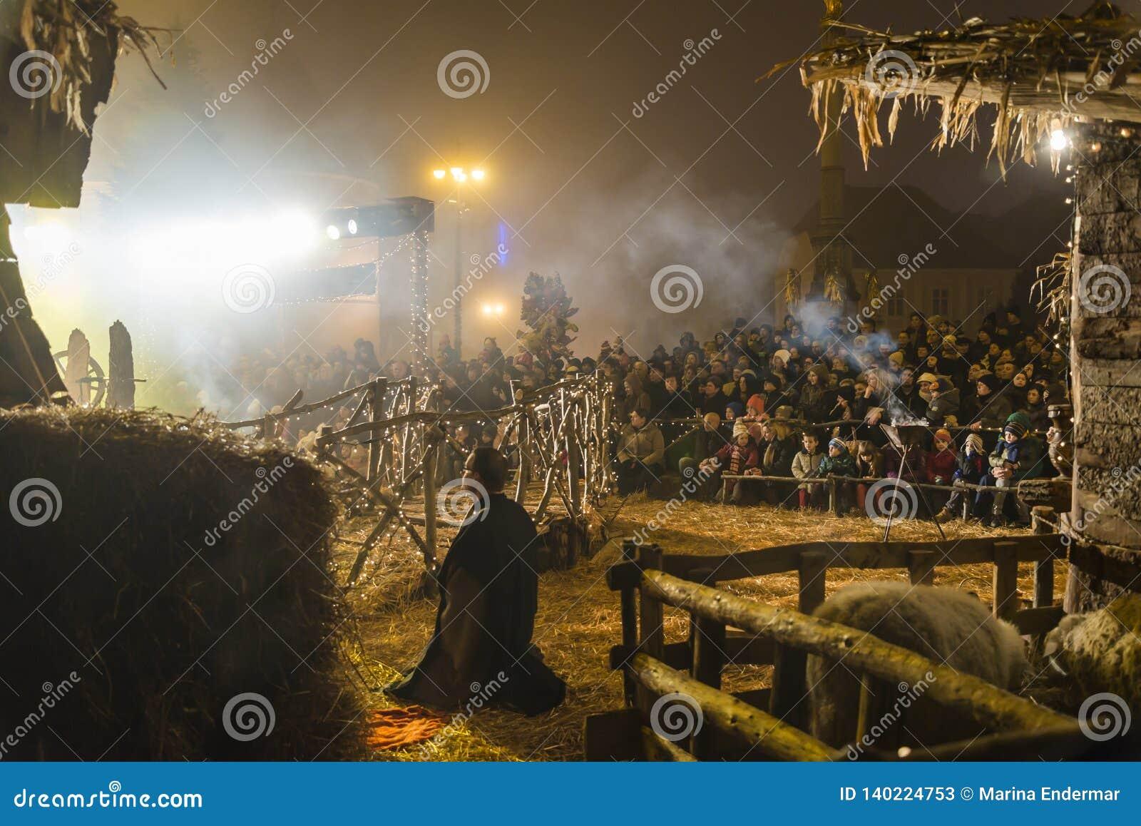 Nativity play for Christmas, Zagreb, Croatia