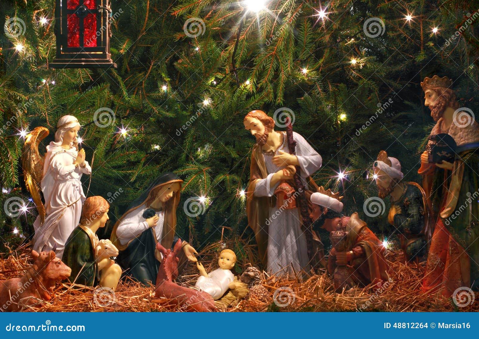 nativity scene  adoration of the magi  stock photo