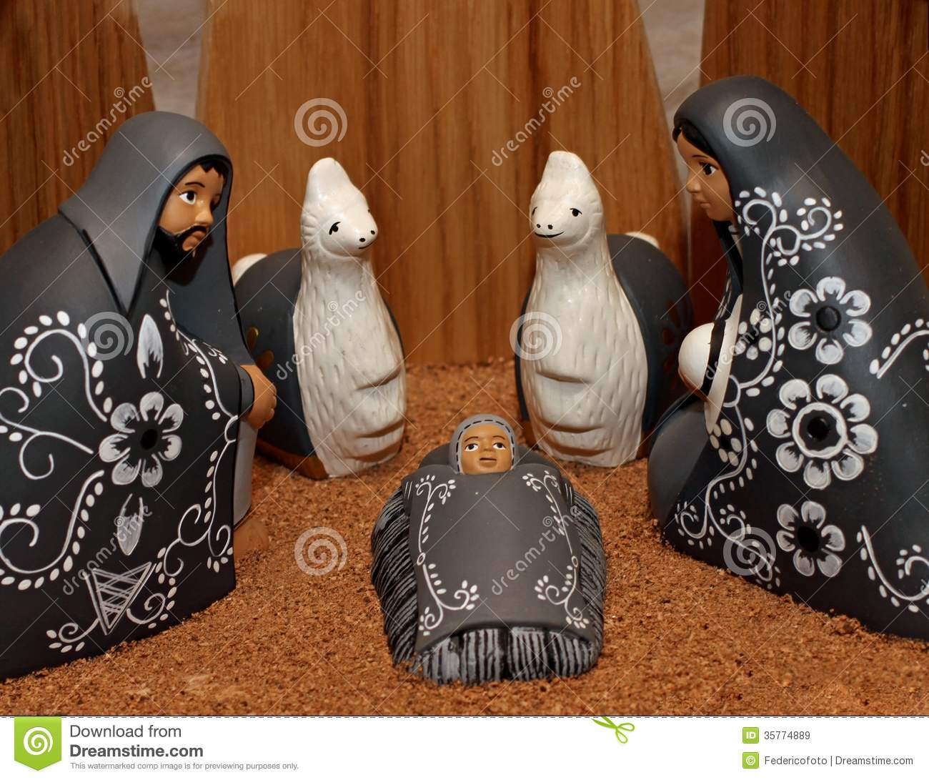 Nativity Scene With Characters Dressed In Black Stock