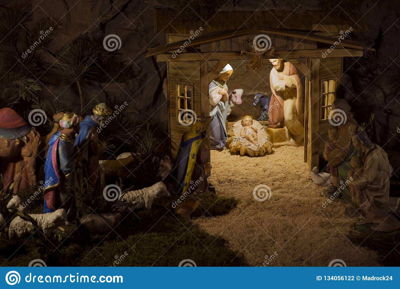 Christmas Jesus Birth Images.Nativity Scene Christmas Birth Of Jesus Mary Joseph