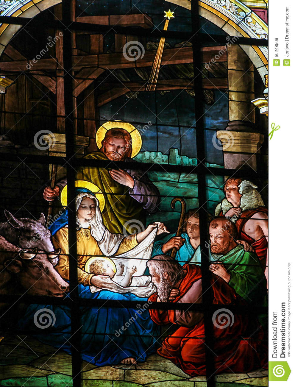 Nativity Scene At Christmas - Stained Glass Window Stock Photo - Image ...