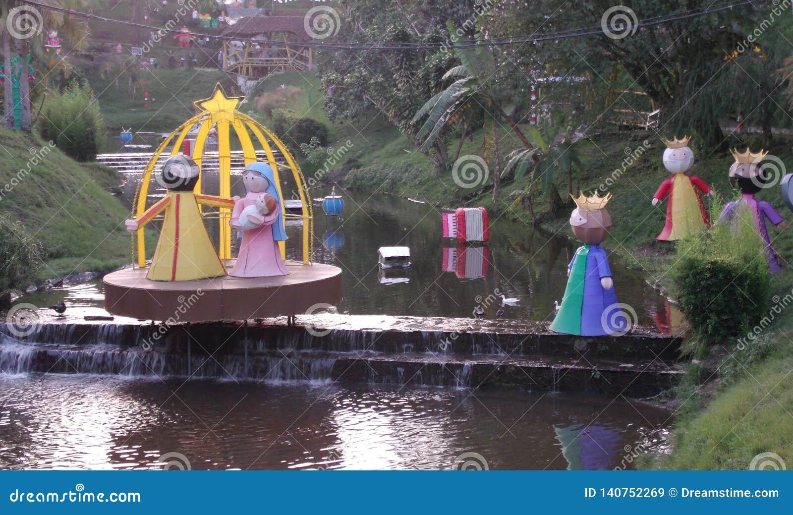 Nativity scene is decorating the stream