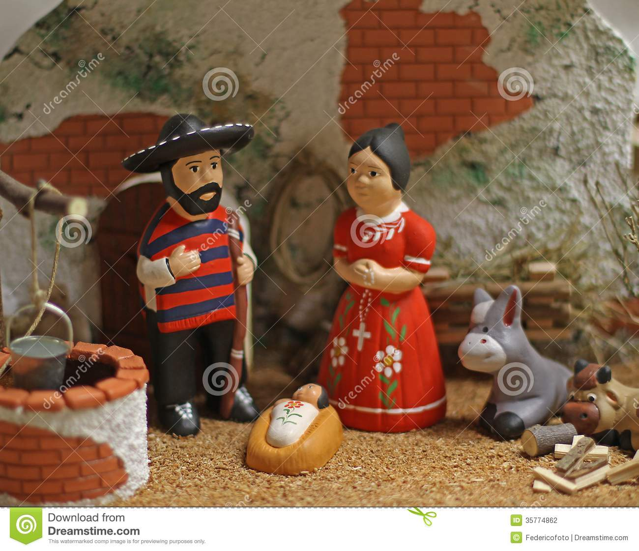 Nativity Scene With Holy Family In Mexican Version 4 Stock