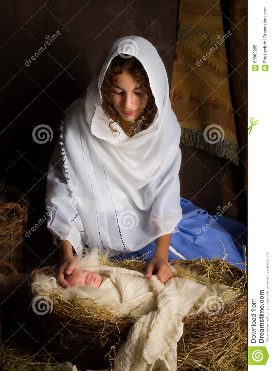 Nativity Scene Reenactment Stock Photo Image 60889286