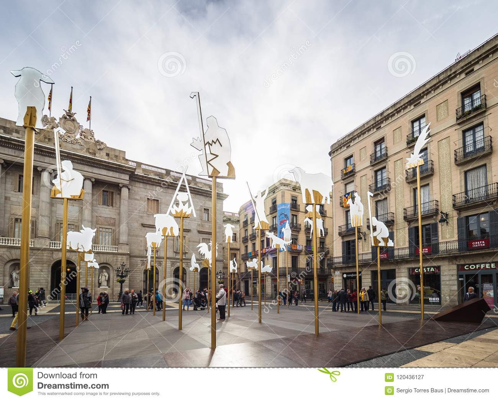The Nativity scene in Sant Jaume square