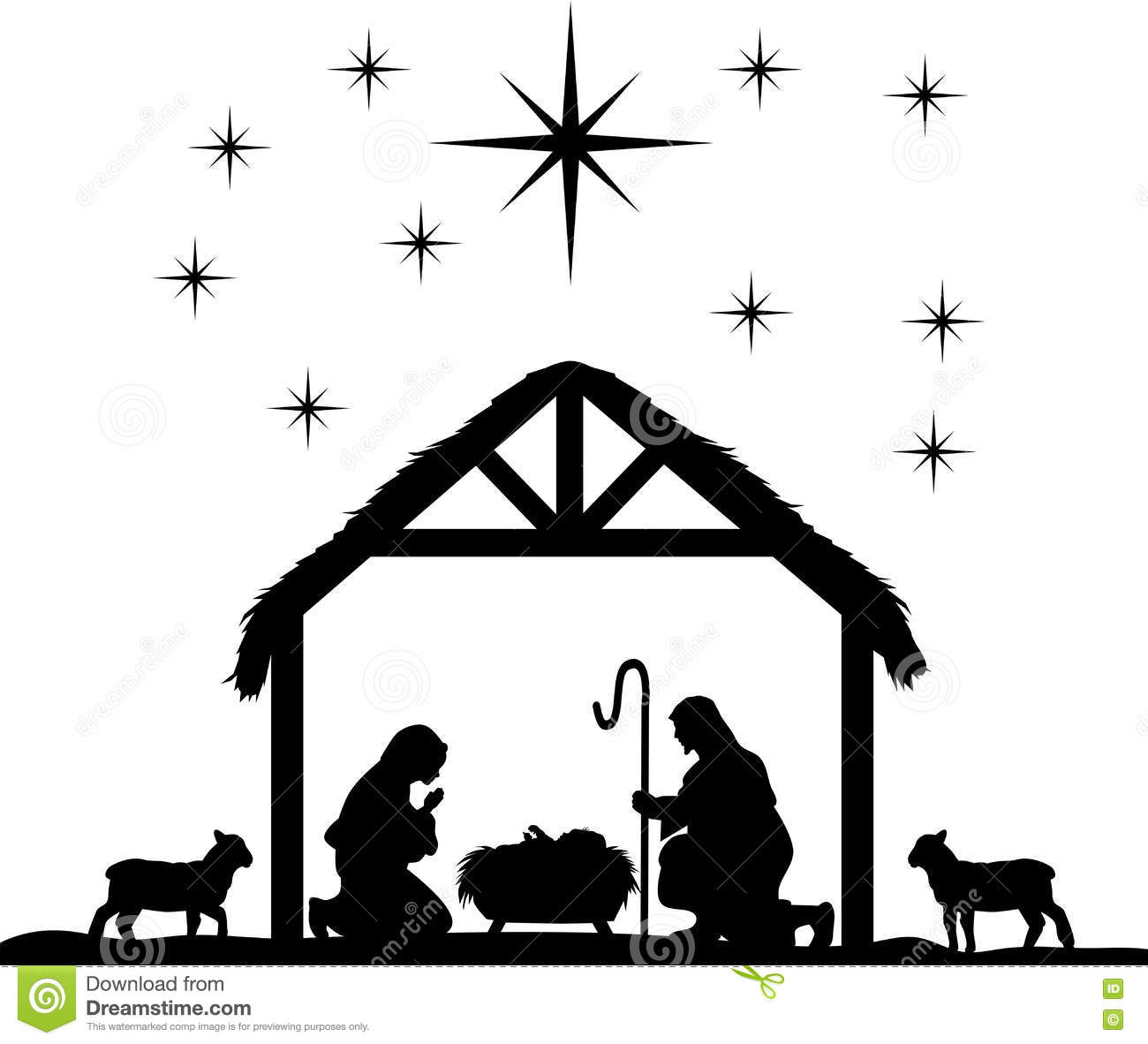 Nativity Scene Silhouettes Stock Vector - Image: 78869398